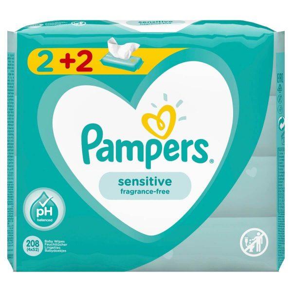 μωρομαντηλα pampers sensitive 2+2 δωρο