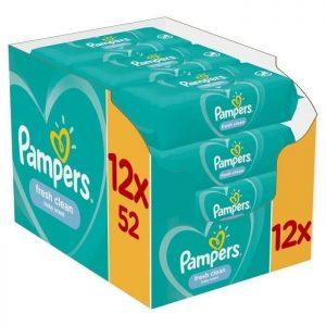 Μωρομάντηλα Pampers Fresh Monthly Βοx 624τεμ – 12×52τεμ